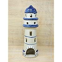 Handgefertigter Teelicht Leuchtturm aus Keramik, Unikat, handbemalt , H: 28cm, frostsicher