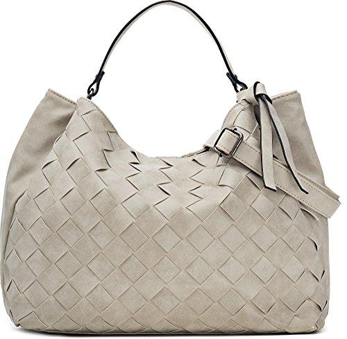 Hochwertige Damen Handtasche - Umhängetasche mit abnehmbarem Schulterriemen - Hobo Bag in Flechtoptik - 40 x 29 x 13,5 cm - Natur weiße Henkeltasche von MIYA BLOOM