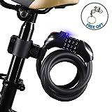 ICOCOPRO Fahrrad-Kabel-Schloss mit LED-Licht mit Einsatz in der Nacht, Fahrradschloss, mit Coiling resettable Kombi-Fahrrad, mit Halterung-1.2m