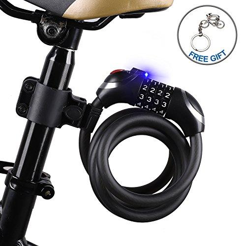 ICOCOPRO Fahrradschloss mit LED Nachtlicht Hohe Sicherheit 5-stellig Zahlencode Schwerlast Metal Kabel Fahrradschloß für Fahrrad Tricycle Scooter (120cm / 150cm / 180cm)