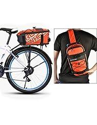 Roswheel 2 in 1 Gepäckträgertasche Radtasche Rucksack Wasserdicht 5 L mit Reflektierendem Band Outdoor (Orange)
