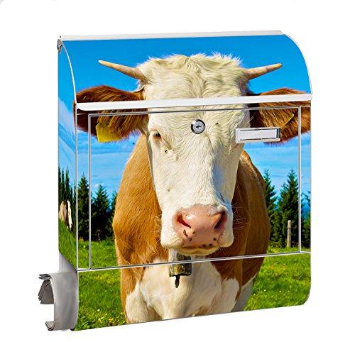 KlebeSpatz® Design Motiv Briefkasten Letterbox Maxi mit Zeitungsfach Zeitungsrolle für C4 Post Groß Kuh 2