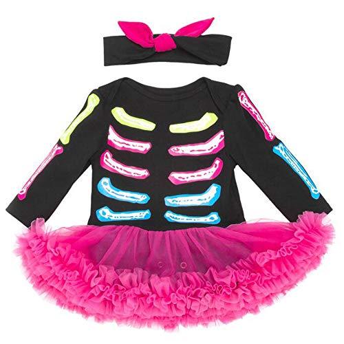 Baby Girls Kleider Setzen Langärmeliges Halloween-Skelett Drucken Baby-Sets 0-2 Jahre Alt,Picturecolor,12M
