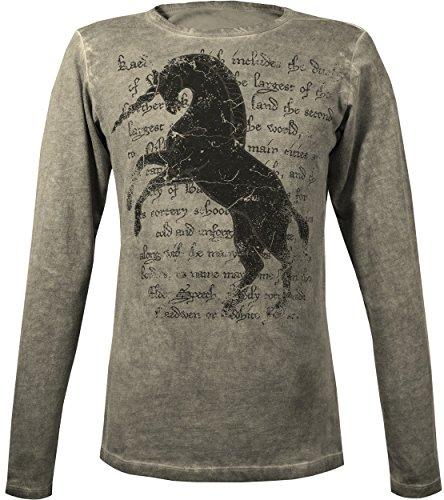 Musterbrand-The-Witcher-Langarm-T-Shirt-Herren-Kaedweni-Unicorn-Geralt-Outfit-Grau