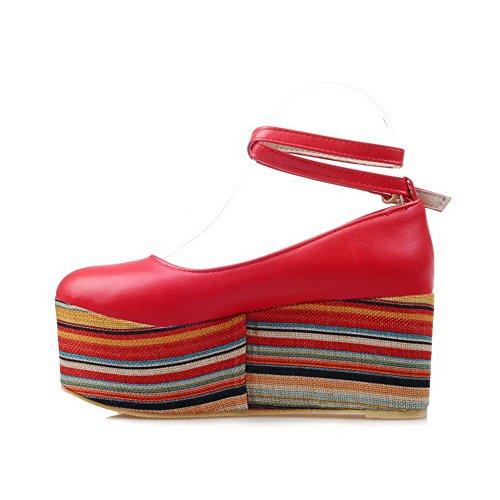 AllhqFashion Femme Rond Boucle Pu Cuir Couleur Unie à Talon Haut Chaussures Légeres Rouge