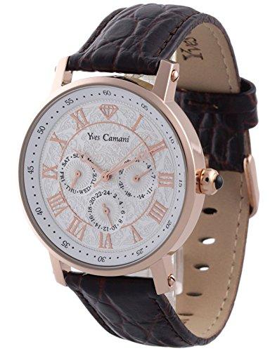 Yves Camani Barocco - Reloj de cuarzo para hombres, con correa de cuero de color marrón, esfera plateada