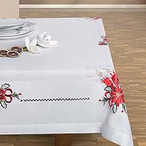 140x270 creme elfenbein Tischdecke Weihnachten Kerze Weihnachtstischdecke Weihnachtsdeko rechteckig cream off-white CANDLE