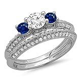 Damen Ring / Ehering 14 Karat Weißgold Rund Schnitt Blau Saphir Diamant 3 Stein Verlobungsring Ehering Set
