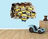Despicable Me Minions 3D effect smashed hole in wall vinyl sticker - suitable for Kids Bedroom walls, doors and glass windows. (Extra Large 80 x 55cm) by PPS