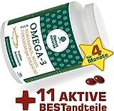 OMEGA-3 Fischöl plus RESVERATROL, SELEN, COENZYM Q10, FOLSÄURE, Vitamin B, Vitamin D, ZINK - 11 aktive Vitamine, Mineralien und Nahrungsergänzungsmittel, 120 Kapseln ( keine Tabletten )