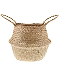 Phenovo Nordic Seaweed Woven Folding Basket Food Clothes Storage Box Home Decors - Natural, L