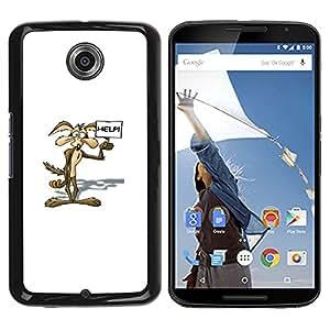 ROKK CASES / Motorola NEXUS 6 / X / Moto X Pro / CARTOON COYOTE / Mince Noir plastique couverture Shell Armure Coque Coq Cas Etui Housse Case Cover