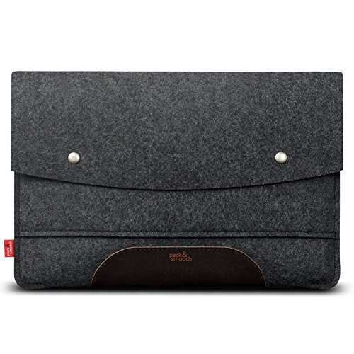 Pack & Smooch MacBook Pro 13 Hülle (Touch Bar/Touch ID) 100% Wollfilz Und Pflanzlich Gegerbtes Leder Handmade in Germany Anthrazit/Dunkelbraun -