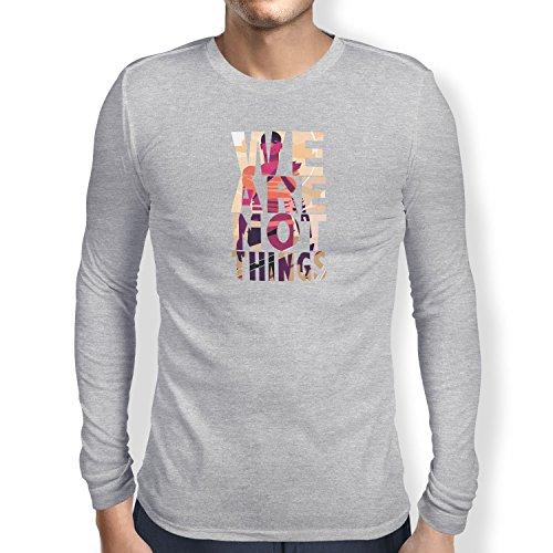 NERDO - We are not Things - Herren Langarm T-Shirt, Größe XXL, grau meliert (Gibson Langarm-shirt)