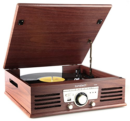 Sunstech PXR3 - Tocadiscos (33 y 45 rpm, USB, FM), color marrón