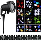 LianLe Christmas Halloween Projector Lights, Moving Lights 12 Pattern Replaceable Slides Indoor and Outdoor Garden Waterproof Lawn Lamp for Party, Bedroom, Wedding, and Christmas Halloween Decor