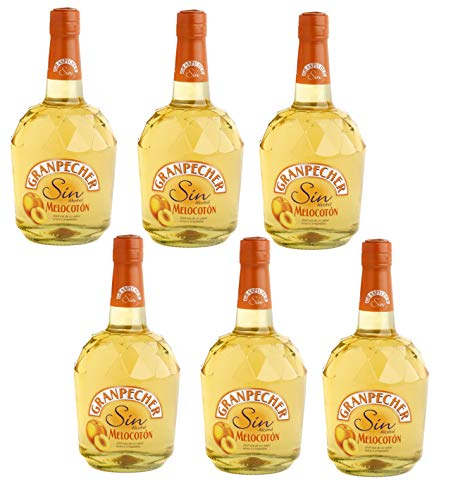 Granpecher - Licor de Melocotón sin Alcohol - 6 botellas x 700 ml - Total: 4200 ml