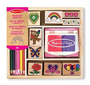 Melissa & Doug Wooden Stamp Set: Friendship - 9 Stamps, 5 Coloured Pencils, and 2-Colour Stamp Pad
