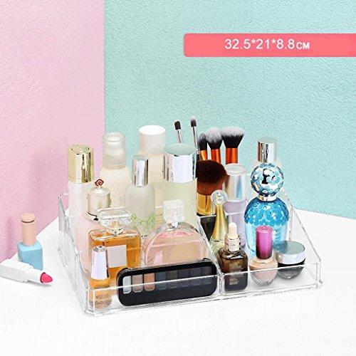 Étui de Maquillage Cosmétique Organisateur Maquillage Boîtier De Stockage Clair Cosmétique Présentoir Maquillage Brosse Titulaire Bijoux De Stockage Transparent Punching Rack Multi-Grille UOMUN