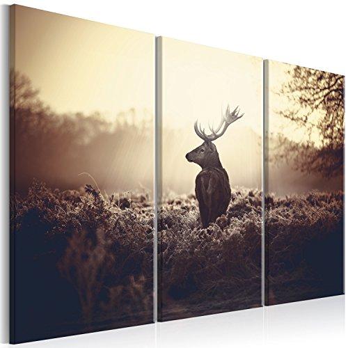 murando - Bilder Hirsch 90x60 cm Vlies Leinwandbild 3 Teilig Kunstdruck modern Wandbilder XXL Wanddekoration Design Wand Bild - Natur Landschaft Tier g-B-0045-b-h