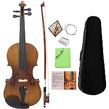 ammoon Violon 4/4 Pleine grandeur Instrument à 4 cordes en ébène avec manche en épicéa et finition mate violon avec étui rigide colophane, chiffon propre