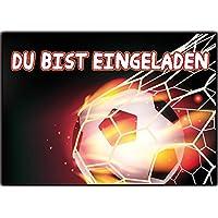 Kartenversand24 Fussball 12er Set Einladungskarten Kindergeburtstag  Fussball Tor Nationalmannschaft Wilde Tiere Jungen Mädchen Kinder Geburtstag