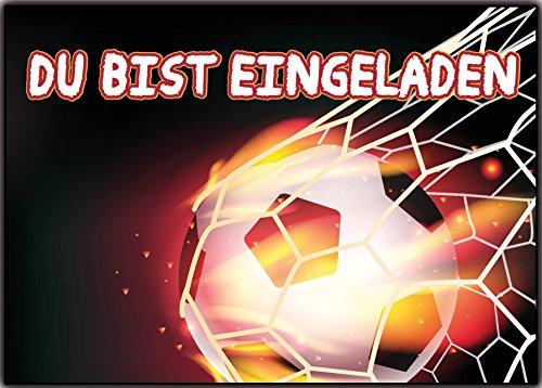 ball 12er-Set Einladungskarten Kindergeburtstag Fussball Tor Nationalmannschaft Wilde Tiere Jungen Mädchen Kinder Geburtstag lustig witzig ausgefallen ()