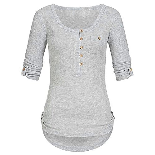 ESAILQ Frauen Oberteile Damen Solide Lange ÄRmel Bluse Mit Knopfleiste üBersteigt Hemd Mit Taschen(XXXX-Large,Grau)