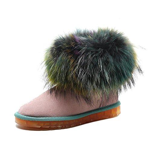 Donna Martin Stivali WSXY5107 Retro Serie di Scarpe Invernali Calde e Creative,KJJDE pink