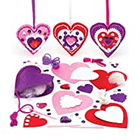 Baker Ross Heart Decoration Sewing Kits (Pack of 3) For Kids to Make, Display or Gift For Mothers Day/Valentines Day