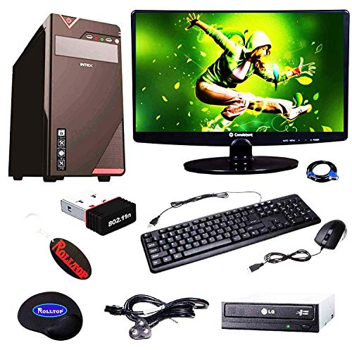 Rolltop Assembled Desktop Computer, Intel Dual Core 2.6 Ghz Pentium Processor, H61 Motherboard, LED Monitor, 4 GB DDR3 RAM, 500 GB Hard Disk, DVD R/W with Windows 10 Professinal Trial