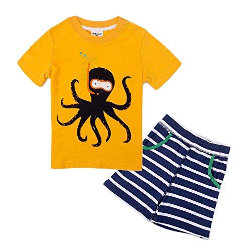 Kleinkind Jungen Pyjama Sets Kurzarm Krake Kinder Pjs Kinder 2 Stück Nachtwäsche Größe 2 Jahre 100% Baumwolle (2 Stück Jungen Pjs)