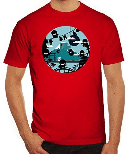 Serien Herren T-Shirt mit Action Ninjas Motiv von ShirtStreet Rot