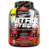 Muscletech Performance Series Nitrotech Whey Protein Peptides & Isolate (30g Protein, 1g Sugar, 3g Creatine, 6.9 BCAAs, 5g Glutamine & Precursor, Post-Workout) - 4lbs (1.81kg) (Milk Chocolate)