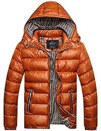 LaoZan Hombres Chaqueta acolchada Abrigo de invierno anorak Abrigo con Capucha para invierno XL Amarillo