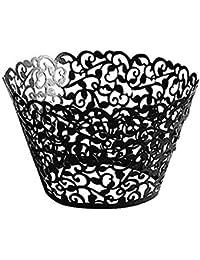 NiceButy Vaso de Papel Magdalenas Taza pequeña de Mimbre de Papel de Envolver pastelitos de Encaje para el cumpleaños de Boda Ducha del bebé decoración del Partido 50pcs Negro Productos para el Hogar