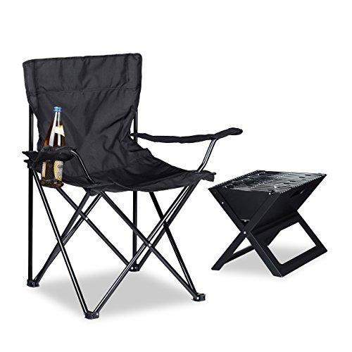 Relaxdays Campingstuhl, Armlehnen, Getränkehalter, Tragetasche, klappbar, HBT: 81 x 78 x 50 cm, schwarz