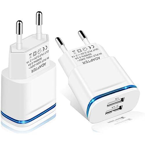 LUOATIP Caricatore USB da Muro, 2-Pack 2.1A 5V Caricabatterie Alimentatore Presa USB 2 Porte, Spina Compatibile con iPhone 11 XS Max XR X 8 7 6, Samsung, Huawei, Xiaomi, Android