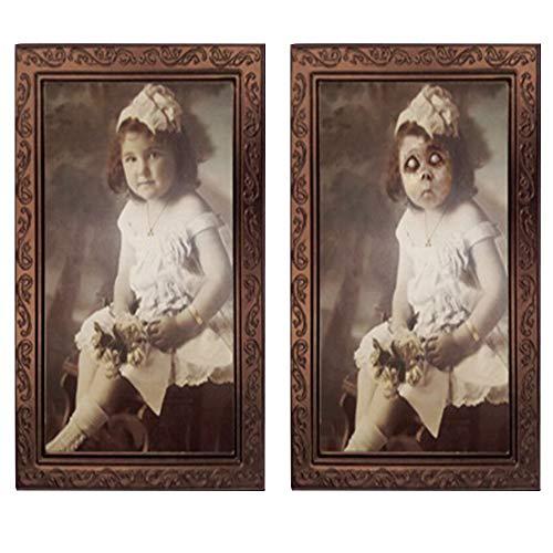 Pannow 3D-Bilderrahmen Horror Ghost Lenticular Morphing Ändern Moving Face Halloween-Party Home Wand Haunted Props für Halloween Party (Abalone Bilderrahmen)