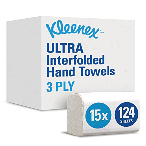 KLEENEX* ULTRA Interfolded Hand Towels 6778 - 15 packs x 124 white, 2 ply sheets, medium