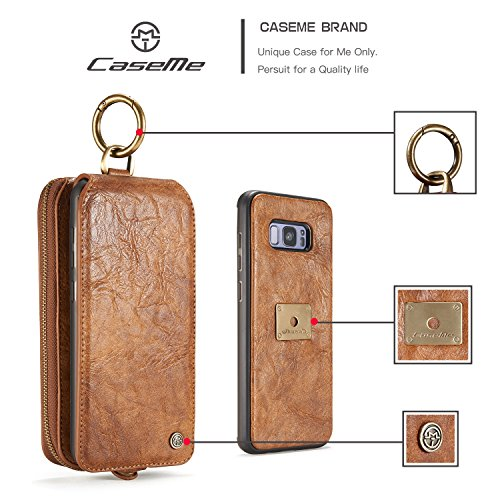 Handy-Hüllen & Hüllen, CaseMe Leder Brieftasche mit Magnetic PC + TPU Back Cover, abnehmbare Folio, Bargeld Halter Zipper Design, für Samsung Galaxy S8Plus ( Farbe : Rot ) Braun