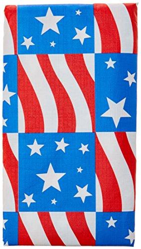 d Blau Flannel-Backed Patriotische Party Tischdecke, Vinyl, 132,1x 177,8cm ()