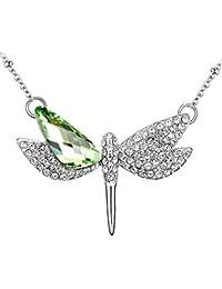Le Premium® Dragonfly offenen Flügeln Anhänger Halskette unregelmäßiges Dreieck geformt Swarovski Peridot Grün Kristall
