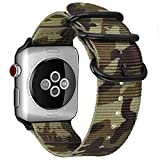 Fintie Armband für Apple Watch 44mm 42mm Series 4/3/2/1 - Premium Nylon atmungsaktive Sport Uhrenarmband verstellbares Ersatzband mit Edelstahlschnallen, Camouflage Grün