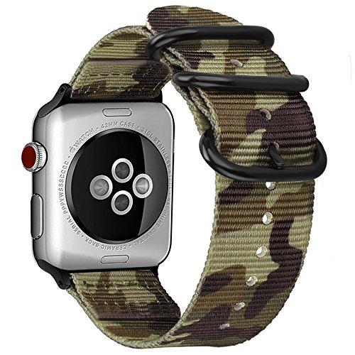 Fintie Armband kompatibel mit Apple Watch Series 4/3 / 2/1 - Premium Nylon atmungsaktive 44mm / 42mm Sport Uhrenarmband verstellbares Ersatzband mit Edelstahlschnallen, Camouflage Grün