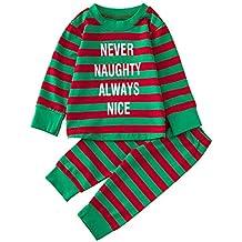 K-youth Ropa Bebe Niño Invierno 2018 Ofertas Infantil Navidad Rayas Letra Impresión Pijama Recien