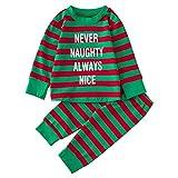 Togelei Baby Long Sleeve Weihnachten Striped Brief Print Top + Hosen Set Baby Jungen Mädchen Brief Tops Shirt Hosen Outfits Sets Langarm Baumwolle Fashion Casual Kinder Kleidung