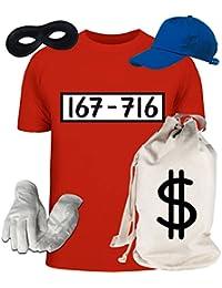 Deluxe Kostüm für Panzerknacker Fans Fasching Karneval Herren T-Shirt+Geldsack+Cap+Handschuhe+Maske