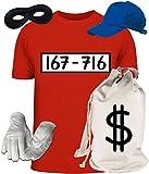 Deluxe Kostüm für Panzerknacker Fans Fasching Karneval Herren T-Shirt+Geld Sack+Cap+Handschuhe+Maske, Größe: XL,Rot