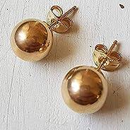 Boucles d'oreilles boules en or jaune 14 k avec boules rondes rondes de taille 8 mm, simples minimali
